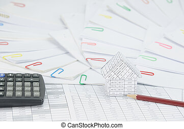 House with pencil have step document place curve as background