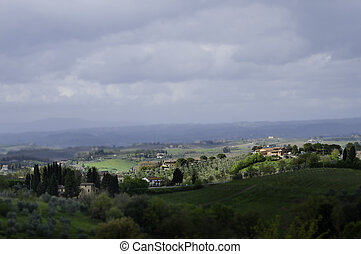 Tuscany with tilt shift lens - Italian landscape with tilt...