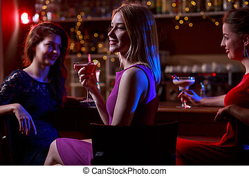 Relax in night club - Girls relaxing in night club after...
