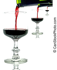 red wine with glasses