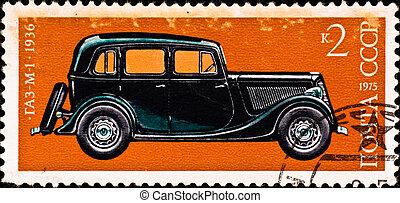 postage stamp shows vintage car - USSR - CIRCA 1975: postage...