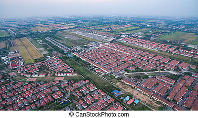 aerial view of home village in thailand use for land...