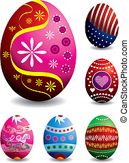 Set of 6 vector easter eggs