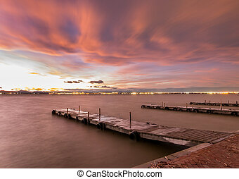 Sunset in Albufera, Valencia, long exposure 2 - Long...