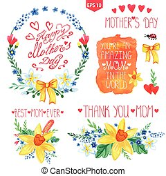 Watercolor floral bouquet,headlines setMother day decor -...
