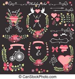 Wedding card floral  Decor toolkit .Wreath,heart,headline
