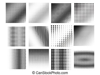 An abstract black and white halftone background.
