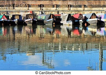 canal barge boat on canal river- Regents Canal, London -...