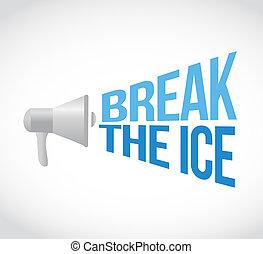 alto-falante, partir, mensagem, megafone, gelo