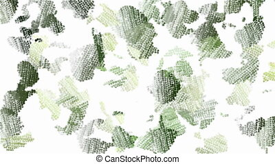 Green moving camouflage background - Animated blurred paint...