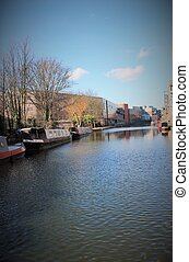 canal barge on canal river- Regents Canal, London - Regent's...