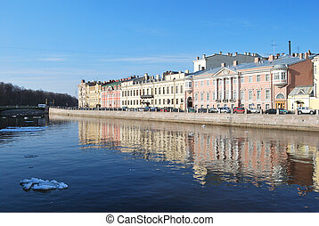 Fontanka river in Saint-Petersburg, - Saint-Petersburg,...