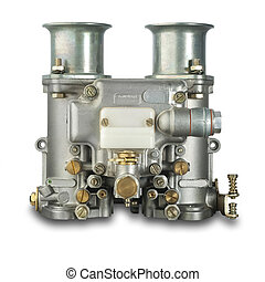 Automobile carburetor,isolated - Italian carburetor on white...
