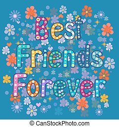 Best friends forever - greeting card Vector illustration
