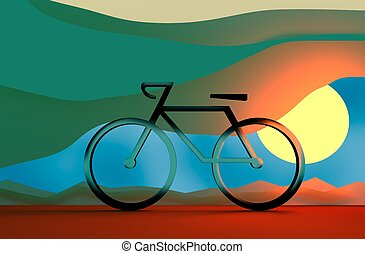 Bicycle Riding Transportation Icon Concept - Bicycle Riding...