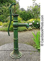 Illustration of hand-operated water pump in the park
