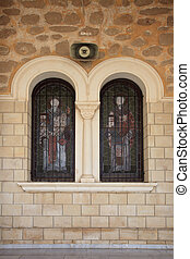 Ancient stained glass in the windows of the Orthodox Church
