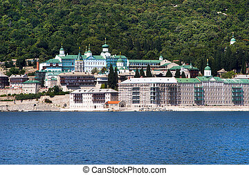 Russian St Panteleimon Orthodox monastery at Mount Athos,...