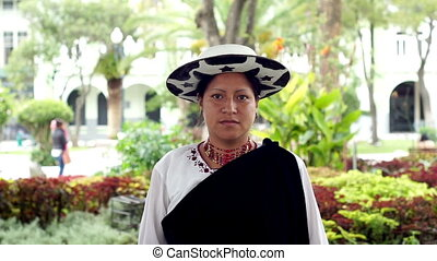 People Faces Ecuador Saraguro Woman - Portrait shot of an...