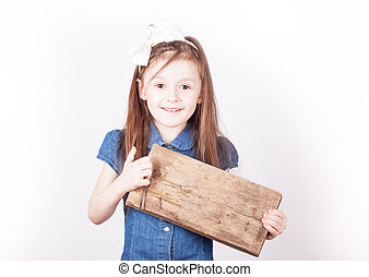 young girl, empty board for inscription in hands, white background