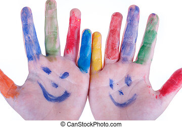childrens hands painted colors isolated on white background...