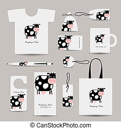 Corporate business style design, funny cow. Vector...