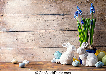 art Easter bunny and Easter eggs - art Happy Easter Day;...