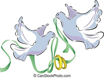 Wedding Doves - two abstract Wedding doves with wedding...
