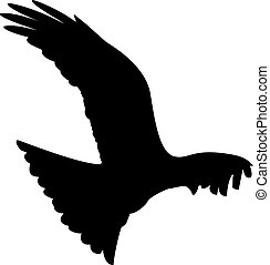Eagle - a black silhouette of a flying eagle