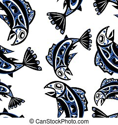 native salmon Vector seamless pattern - native salmon Vector...