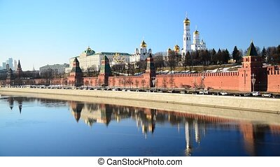 View of Moscow Kremlin from river, Russia - View of the...