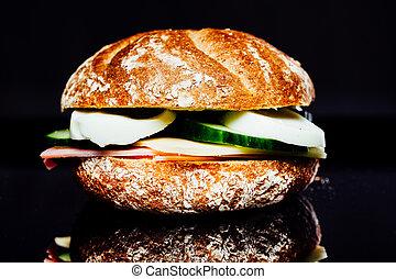 Breakfast sandwich on reflection background - Breakfast...