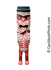 Maori carving isolated on a white background