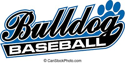 bulldog baseball team design with script and tail for...