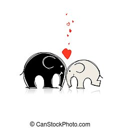 Cute elephants sketch for your design