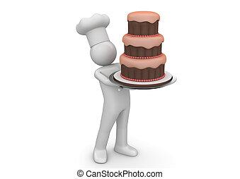 Biiiiiig cake - 3d isolated on white background characters...