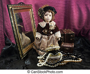 Retro fashioned porcelain doll with - Composition of a retro...