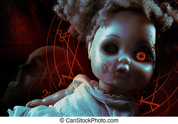 Possessed demonic doll - Possessed demonic horror doll with...