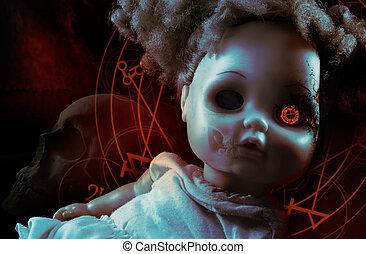 Possessed demonic doll. - Possessed demonic horror doll with...