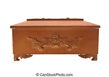 Isolated wooden casket profile view - Isolated closed wooden...