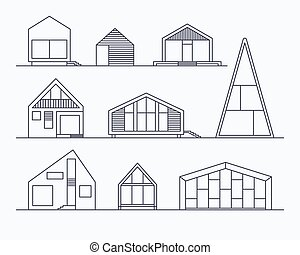 Tiny houses linear 1 - Set of various design small vector...