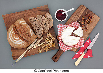 Wholesome Food Snack - Homemade rye bread brown loaf with...