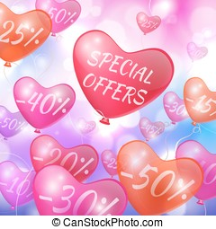 Discounts on flying in the form of hearts balls - Vector -...