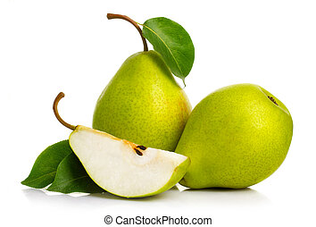 Ripe green pears isolated with leaves isolated on white
