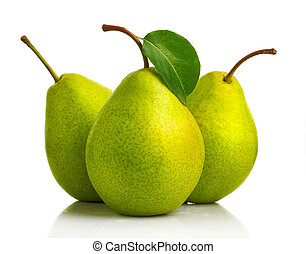Three green pear fruits with leaves isolated on white
