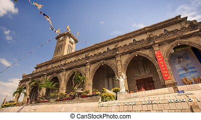 Age-old Catholic Church Colonnade God Statue Yellow Flowers...