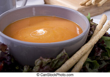 Tomato Soup with Bread Sticks