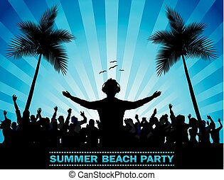 Summer beach party with dance silho - Vector illustration of...