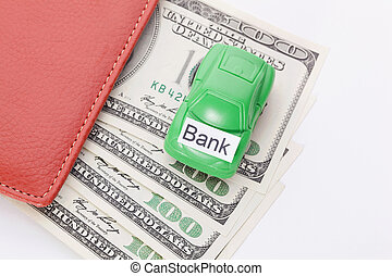 Car money With sign - Bank. Payments and costs.