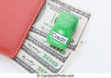 Car money With sign - Credit. Payments and costs.